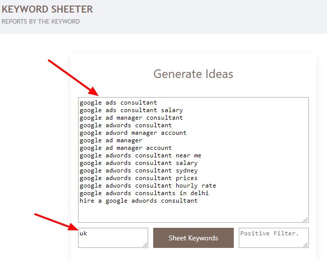 Keyword Sheeter - uk