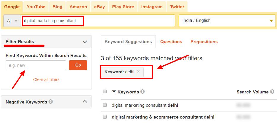 keyword tool io filter